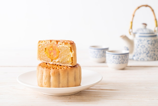 Chinese moon cake durian and egg yolk flavour for mid-autumn festival