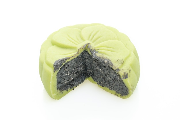 Chinese moon cake green tea flavour with black sesame isolated