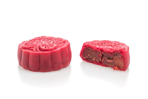Chinese moon cake strawberry red bean flavour isolated on white background