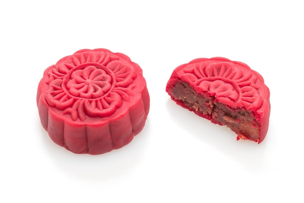 Chinese moon cake strawberry red bean flavour isolated on white