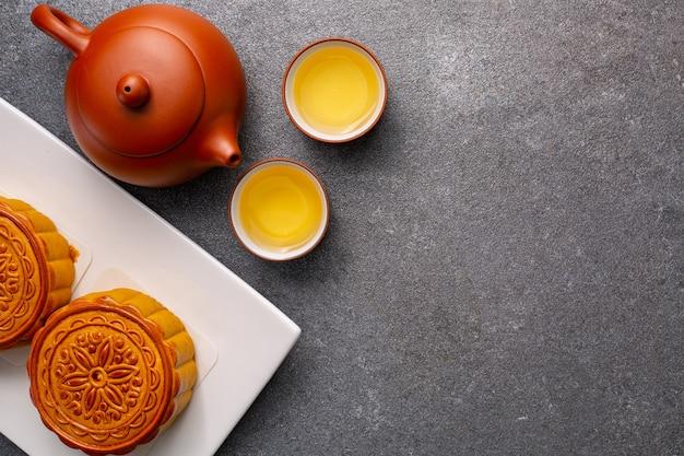 中国の月餅は、おいしい伝統的な甘い食べ物です。アジアのデザート料理。