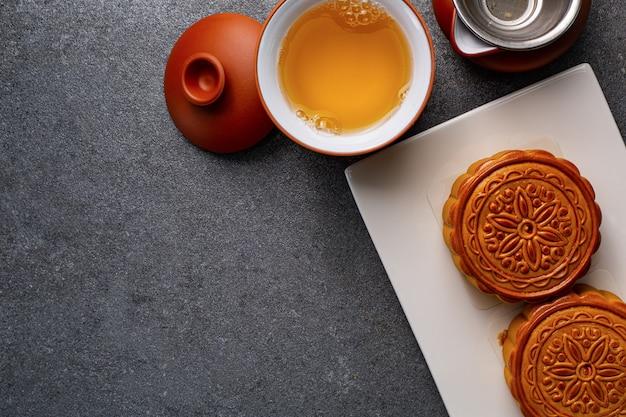 おいしいための中国の月餅伝統的な甘い食べ物。アジアのデザート料理