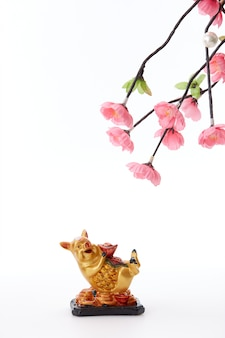 Chinese new year 2019 pig with cherry tree