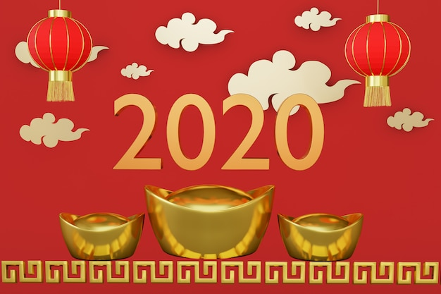 Chinese new year 2020 greeting card.
