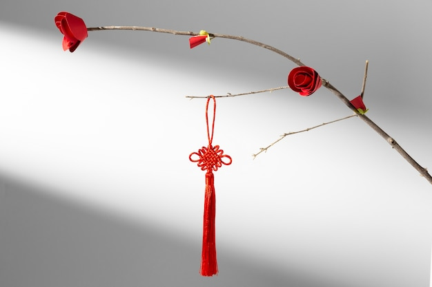 Chinese new year 2021 flower and red decoration