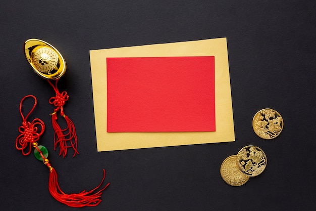 Chinese new year card mock-up with pendants