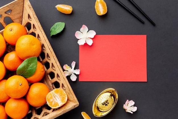 Макет китайской новогодней открытки с мандаринами