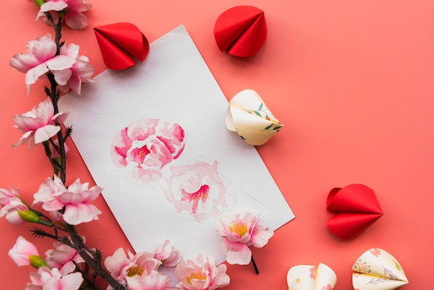 Chinese new year composition with paper