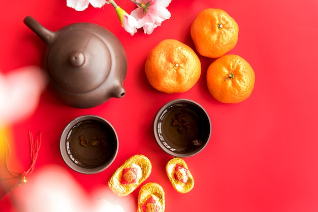 Chinese new year composition with tea