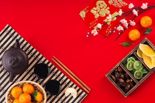 Chinese new year concept with copy space