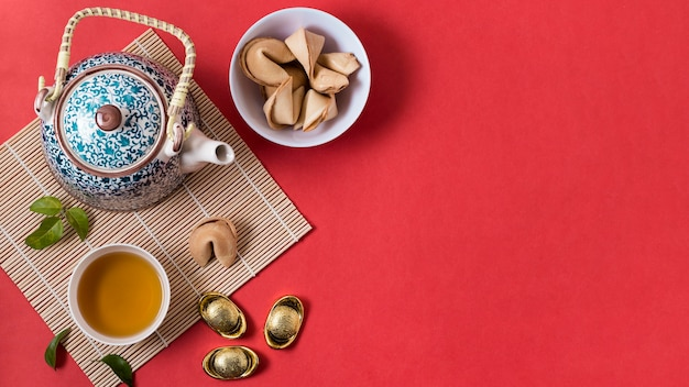 Chinese new year concept with fortune cookies