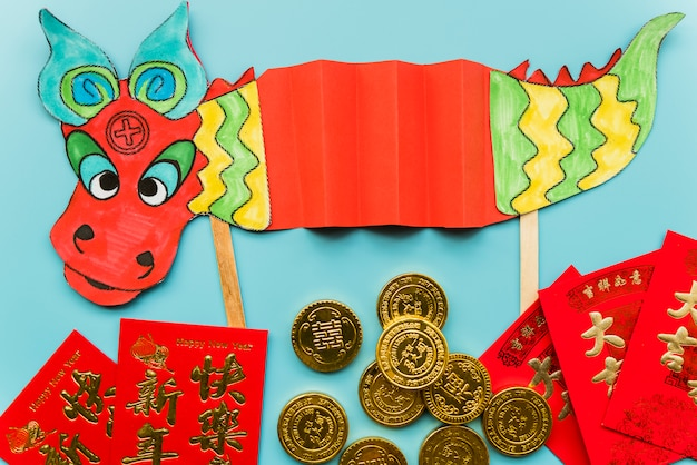 Chinese new year concept with hand made dragon