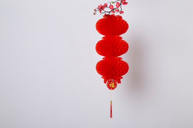 中国の旧正月の装飾白い背景に赤い提灯と桃の花漢字のテキストは豊かを意味します
