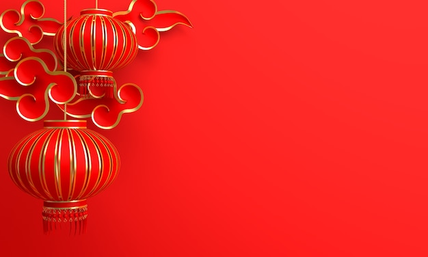 Chinese new year decoration with lantern cloud