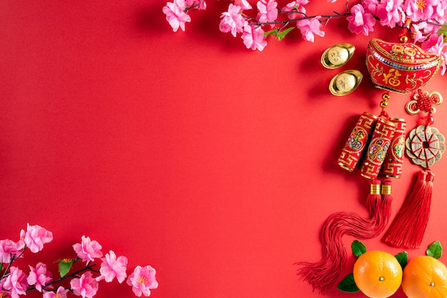 Chinese new year festival decorations background concept