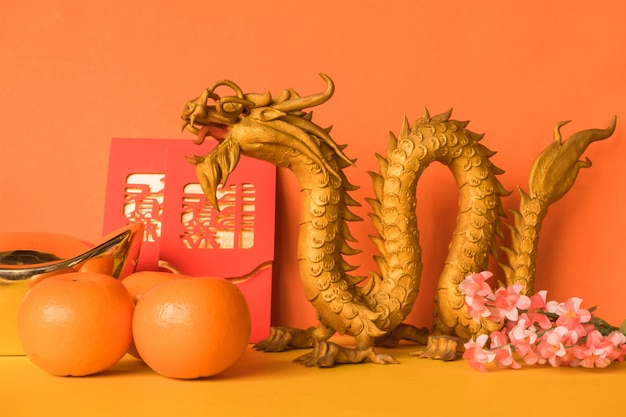 Chinese new year festival decorations on color background.