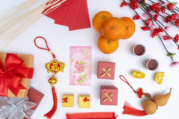 Chinese new year festival decorations healthy and wealth orange