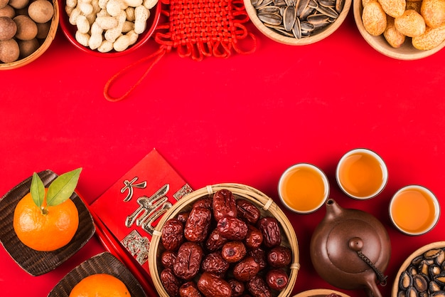 Chinese new year festival food and decoration