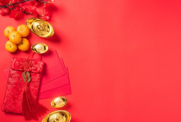 中国の旧正月の祭りトップビュー幸せな中国の旧正月または旧正月の装飾のお祝い