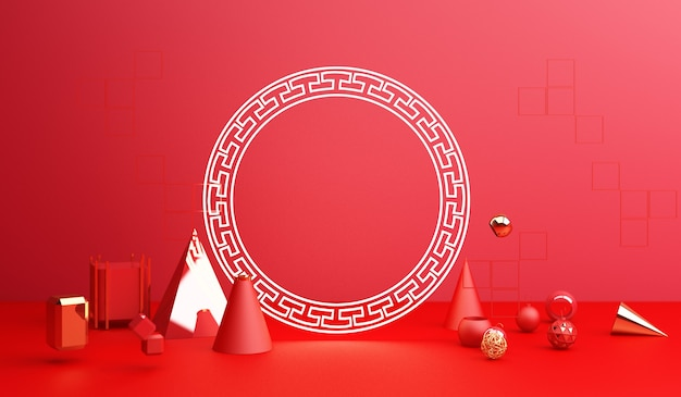 Chinese new year, golden podium display on red abstract background