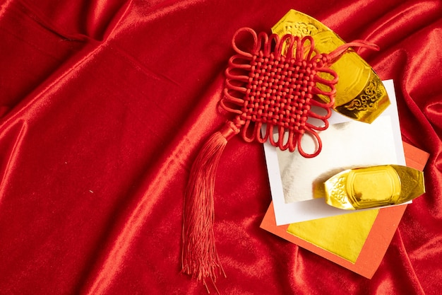 Chinese new year greeting golden and red background with copy space foe celebrate traditional of happiness with  family