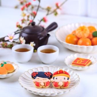 Китайский новый год имлек глазурь сахарное печенье персонаж, концепция для белой пекарни