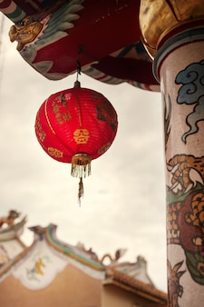 Chinese new year lantern in chinese temple.
