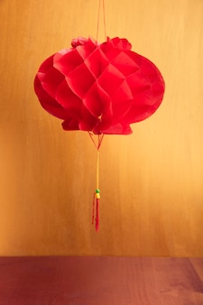 Chinese new year lantern with golden backdrop