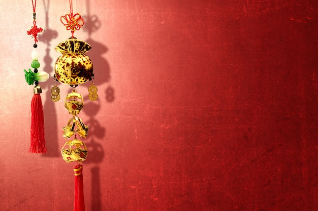 Chinese new year ornaments over red wall