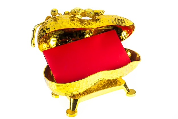 Chinese new year  red envelope and ornament, bucket of gold Premium Photo