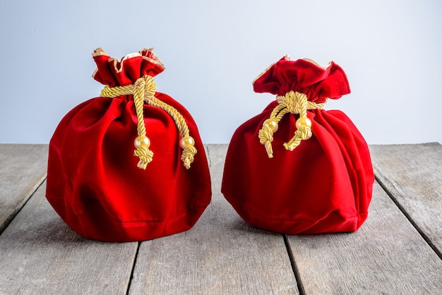 Chinese new year red fabric or silk  bag, ang pow of luck