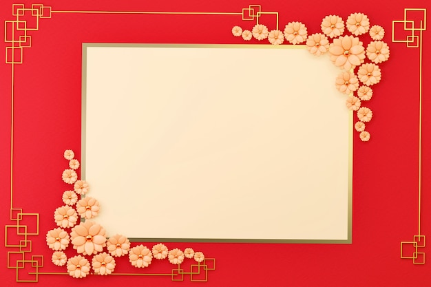 Chinese new year's flat lay card border frame with flower decoration, 3d render.