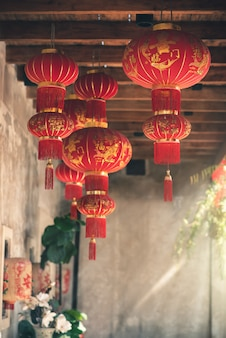 Chinese new year traditional red lanterns hanging against chinatown