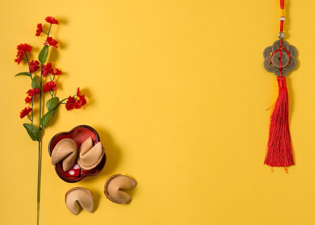 Chinese new year with fortune cookies