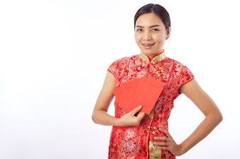 Chinese new year woman holding red envelope
