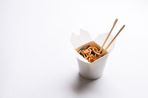 Chinese noodles in cardboard