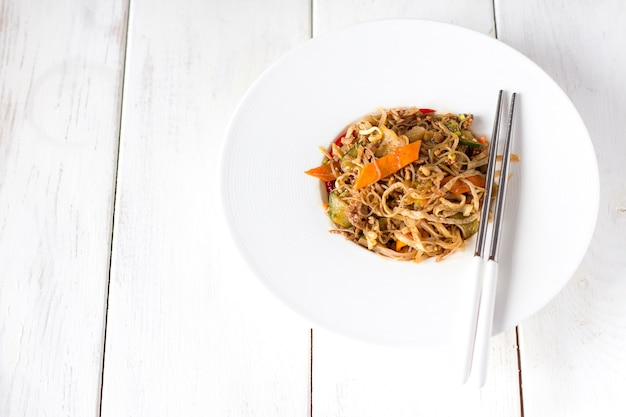 Chinese noodles and chopsticks