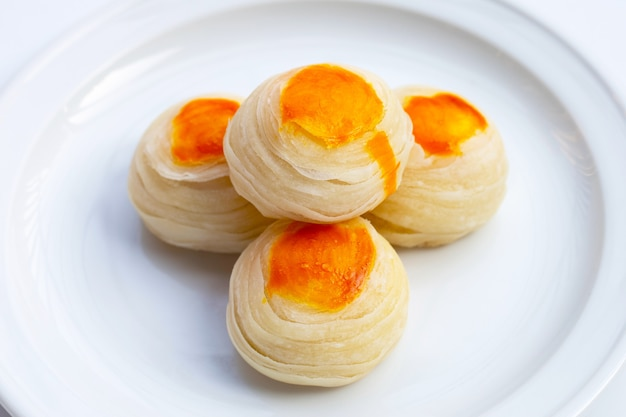 Chinese pastry on white background.