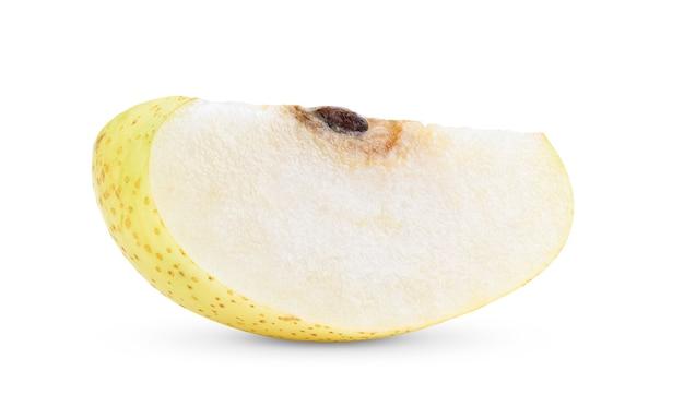 白い背景で隔離の中国梨の果実