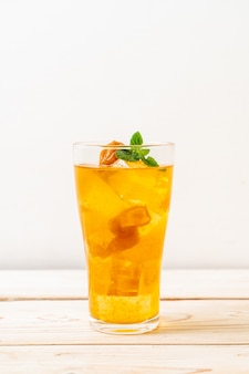 Chinese plum juice with ice and mint