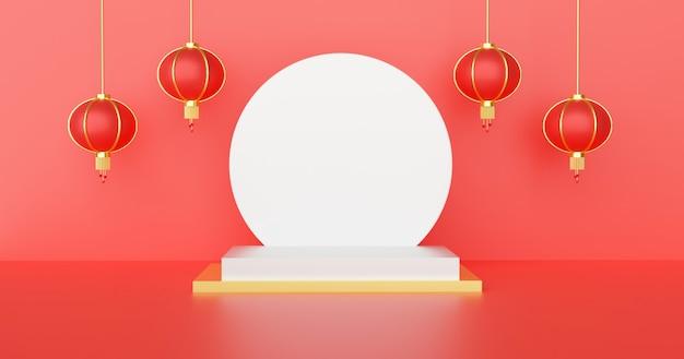 Китайский подиум для продукта на красном фоне.