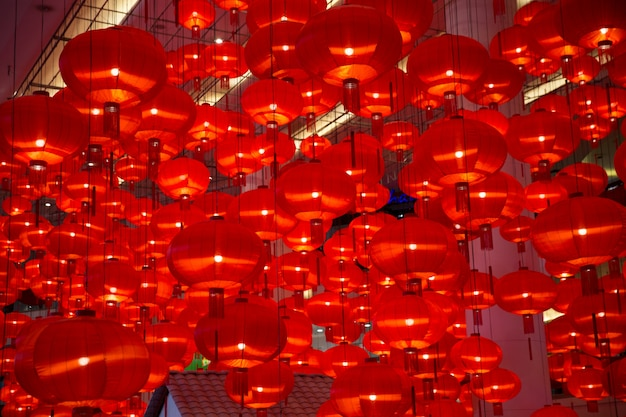 Chinese red lantern as new year symbol.