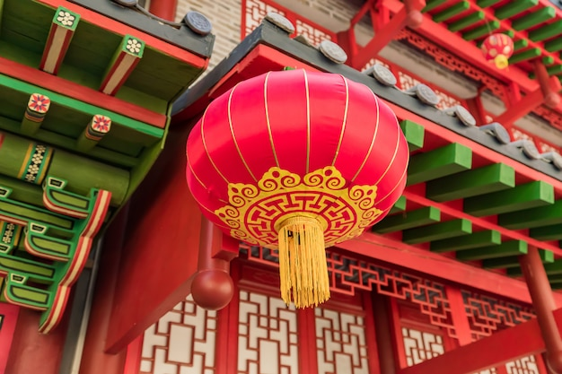 Chinese red lantern hanging on the street as decoration