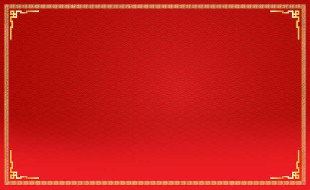 Китайский красный новогодний фон с деталями золотой рамы