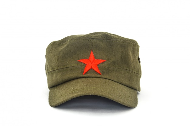 Chinese red star cap (mao style hat) on white
