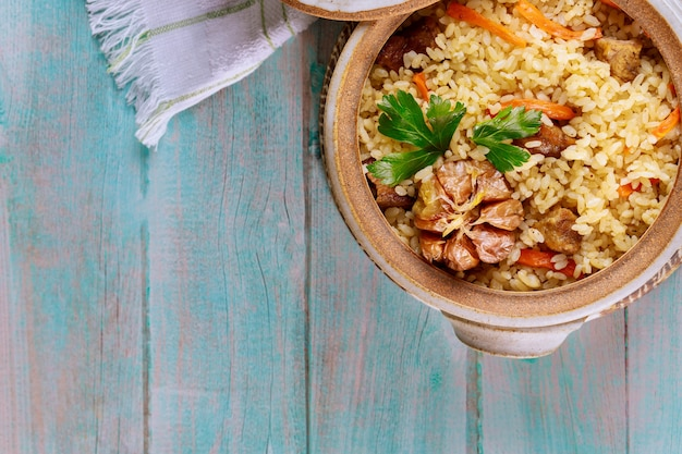 Chinese rice with vegetable and meat.