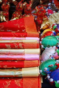 Chinese silk and tourist items in asian market