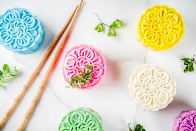 Chinese snowskin mooncakes