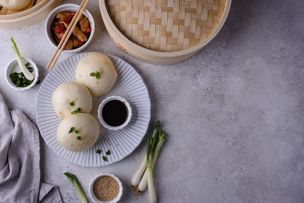 Китайские булочки на пару баоцзы с пароваркой