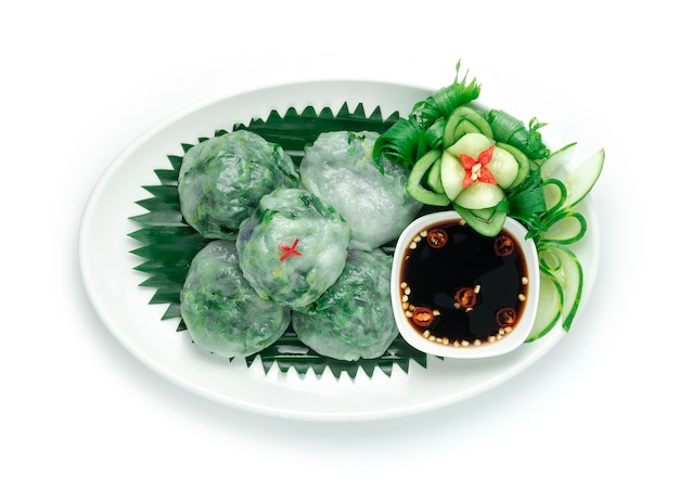 Chinese steamed chives dumplings